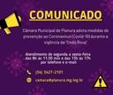 """Câmara Municipal de Planura adota medidas de prevenção ao Coronavírus (Covid-19) durante a vigência da """"Onda Roxa""""."""