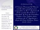 Convite Solenidade virtual de Posse do Prefeito, Vice-Prefeito e Vereadores para a Legislatura 2021-2024.